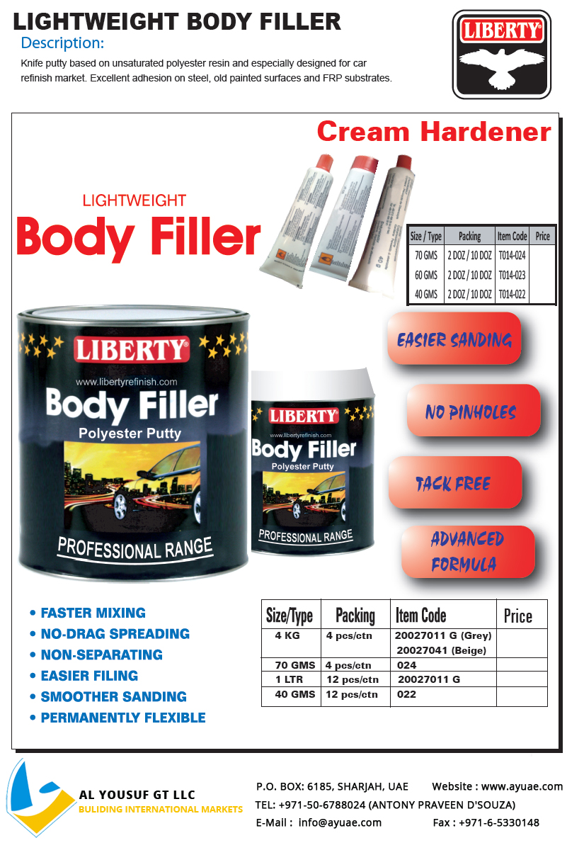 Liberty Body Filler Suppliers In Dubai